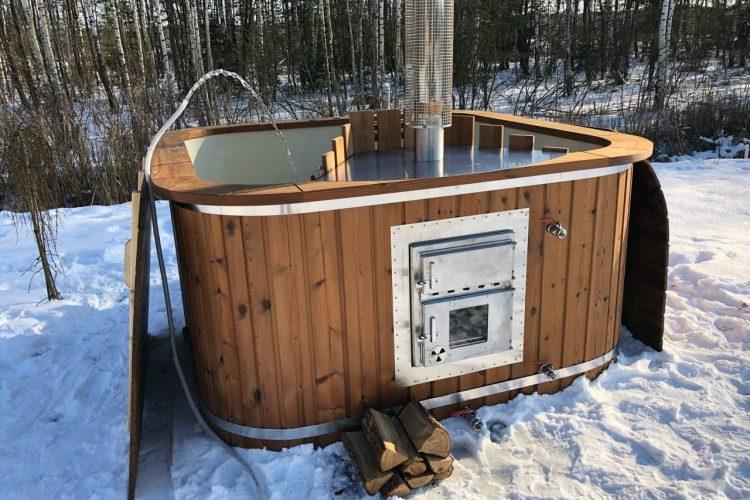 Mini piscina Idromassaggio vasca calda fuori terra in legno riscaldabile con stufa a legna