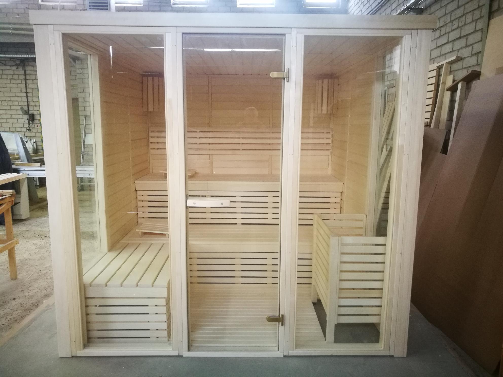 Sauna da interni prefabbricata in legno l'ontano, il pioppo tremolo o tiglio