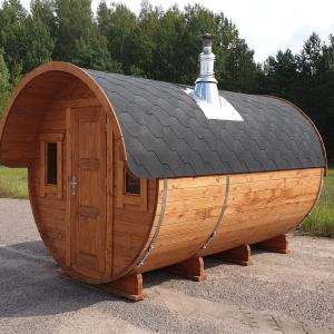 Sauna da esterno rotonda a botte 4 m. ø 2.30 da esterno con stufa