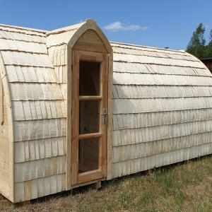 Sauna igloo 5 m con scandole di legno