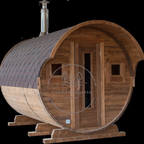 Sauna rotonda a botte 3 m. ø 2.10 da esterno