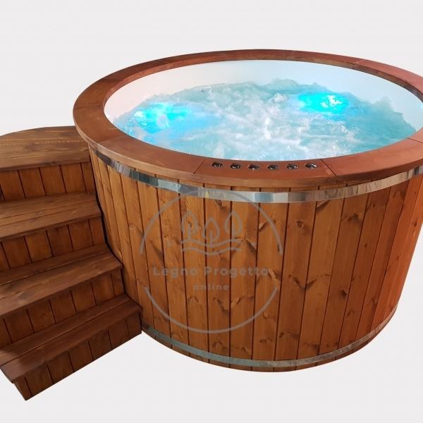 Idromassaggio spa tinozza in legno da esterni con stufa a legna