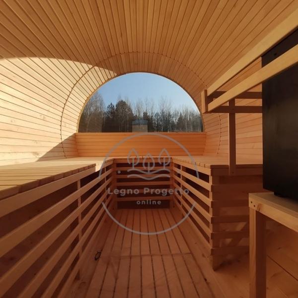 Sauna 3 Metri Rotonda A Botte Da Esterno Con Finestra Panoramica
