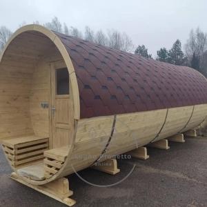 Sauna a botte rotonda con vetrata (3)