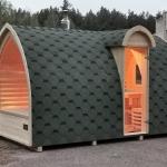 Sauna da esterno zona relax Finlandese Igloo entrata laterale stufa a legna